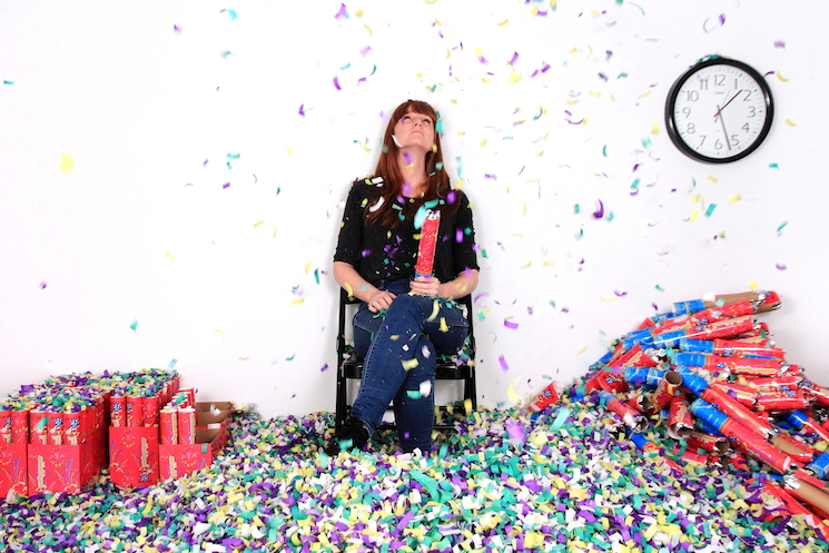 Michaela Gleave's winning performance  piece, 'Waiting for Time (7 Hour Confetti Work)'