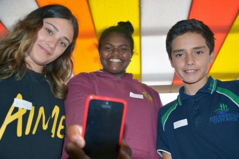 AIME mentor and Griffith student Rachel Spencer with Keebra Park SHS student Eboni Barrett and Helensvale SHS student Ngapuarata Mator.