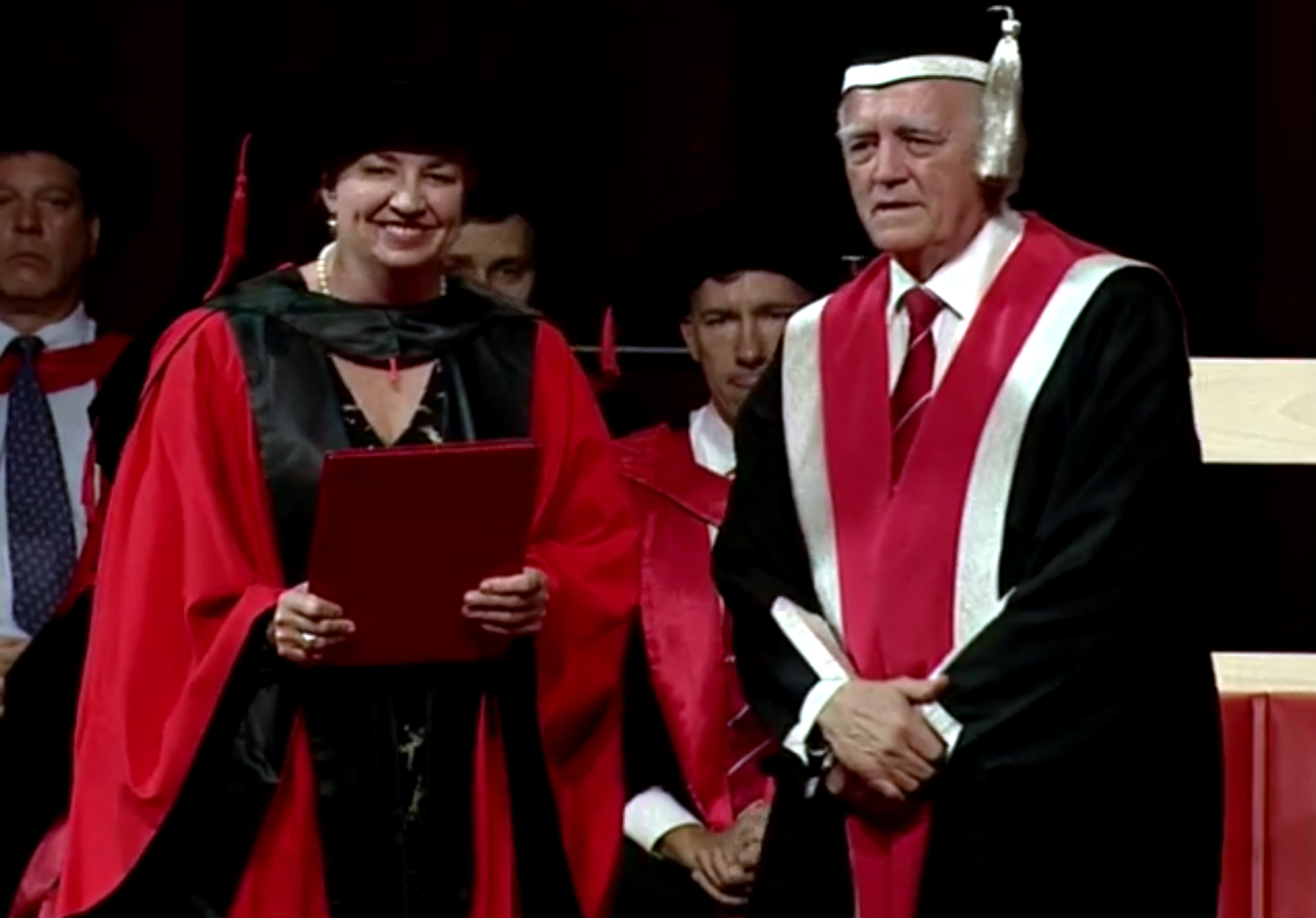 Anna Bligh with Griffith University Chancellor Henry Smerdon