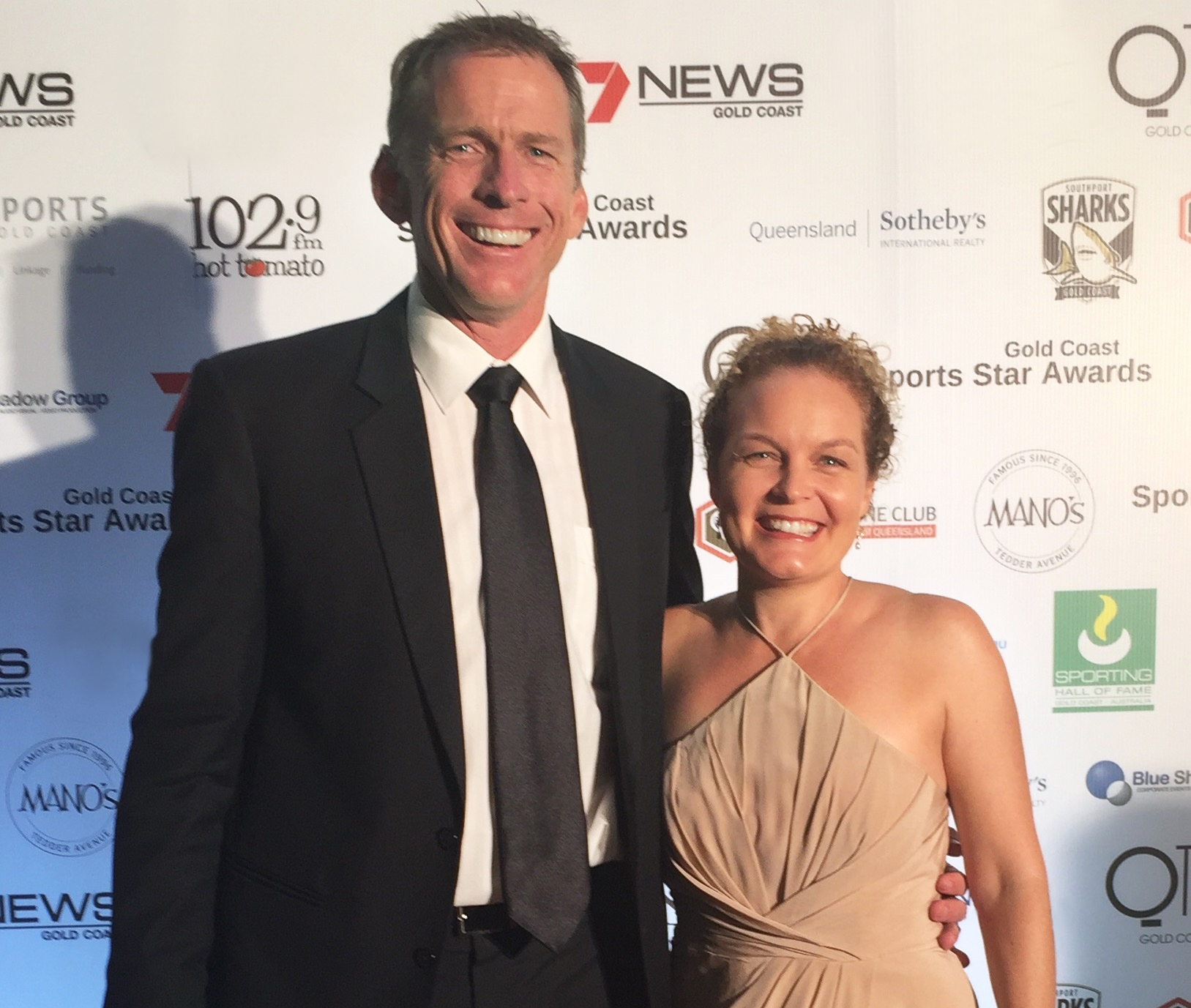 Director of Griffith Sports College, Duncan Free, pictured with his wife Belinda after he was inducted into the Gold Coast Sporting Hall of Fame.