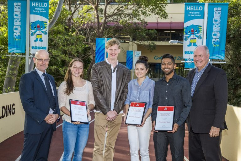 Professor Ned Pankhurst - Griffith University Gold Coast Head, Kristina Clonan, Rowan Crothers (who was awarded a scholarship in 2016), Ali McCowen, Narasimhan Ravi and GOLDOC CEO Mark Peters.